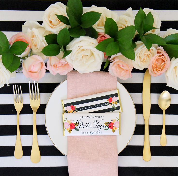 Roses and Stripes Personalized Candy Bar Wrapper from Sweet Paper Shop | Features pink, peach and red florals and chic black and white stripes | Overwraps a Hershey's 1.55 oz Chocolate | Printed on Shimmer Paper. Foils included.