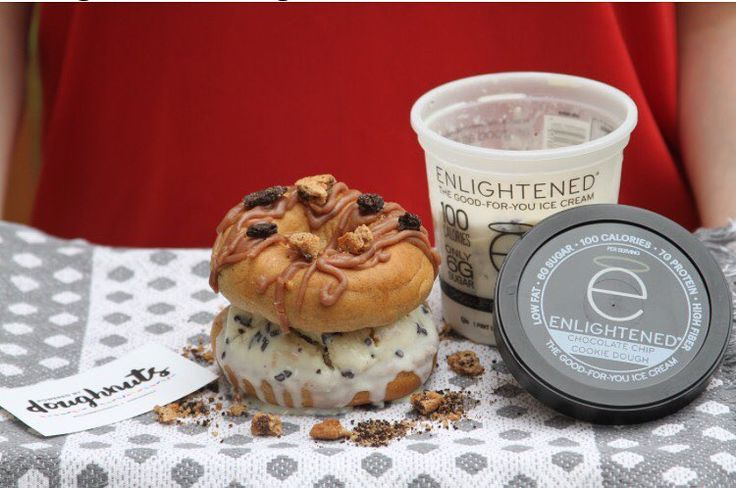 Happy #nationaldoughnutday !  ENLIGHTENED has teamed up with @doughbardoughnuts to bring you all a very special treat: the #DOUGHnutwich!  Our delicious good for you ice cream  sandwiched between a protein packed DOUGHbar doughnut!!   Could you imagine a better pairing? We think not!