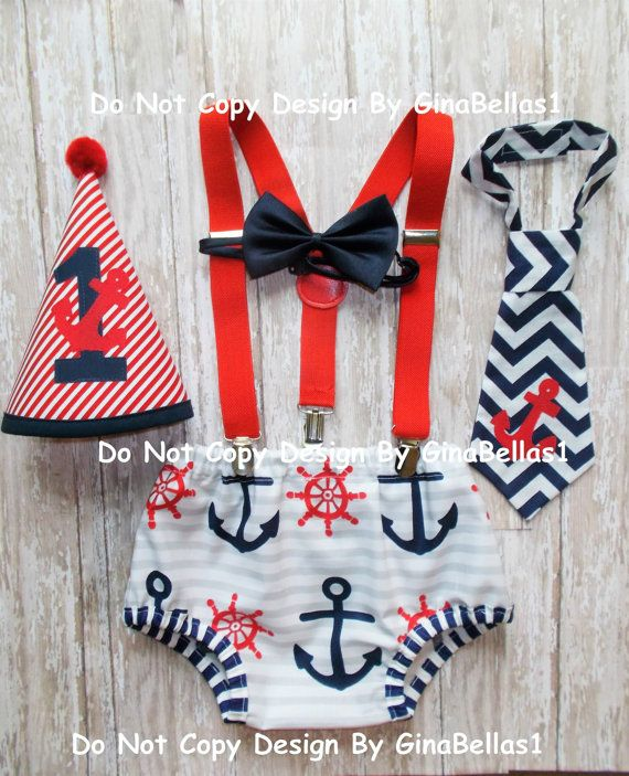 Nautical cake smash outfit chevron anchor Birthday by GinaBellas1