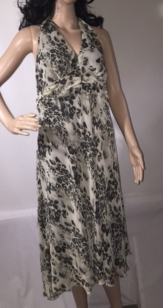 Jonathan Martin Dress Black Gray Semi-Sheer Cheetah Leopard Cat Print - Size 14W #JonathanMartin #EmpireWaist #Cocktail
