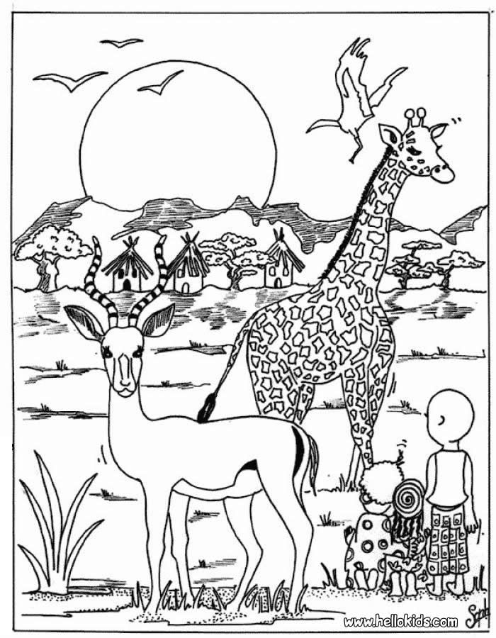 Giraffe And Antelope Coloring Page