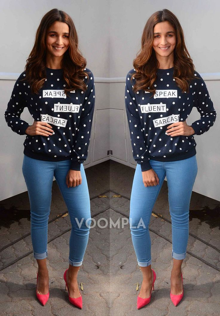 Alia Bhatt rocks her tight jeans and pink heels!! via Voompla.com