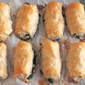 More Easy Thanksgiving Appetizers - Filo rolls with arugula, spinach and feta