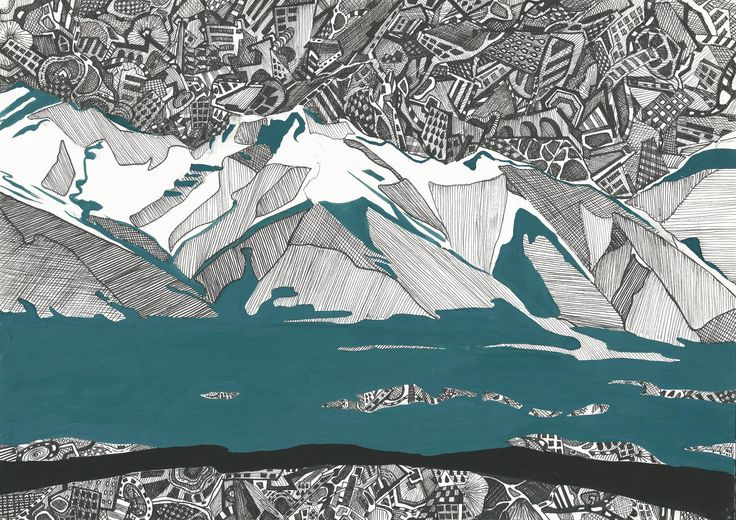 """""""Tibetan mountains"""" graphics (297x420 mm, sketch for silk painting )"""