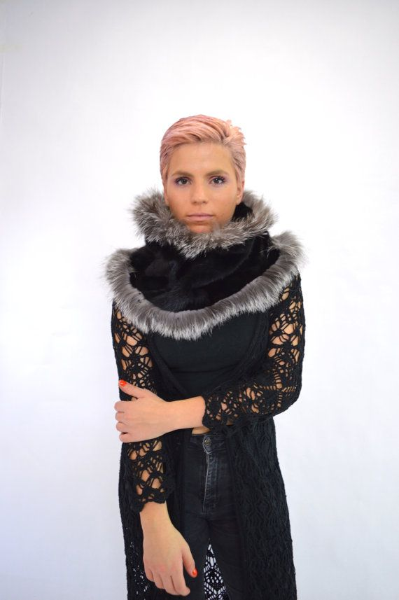 Real fur infinity scarf black mink fur cowl neck warmer by BeFur