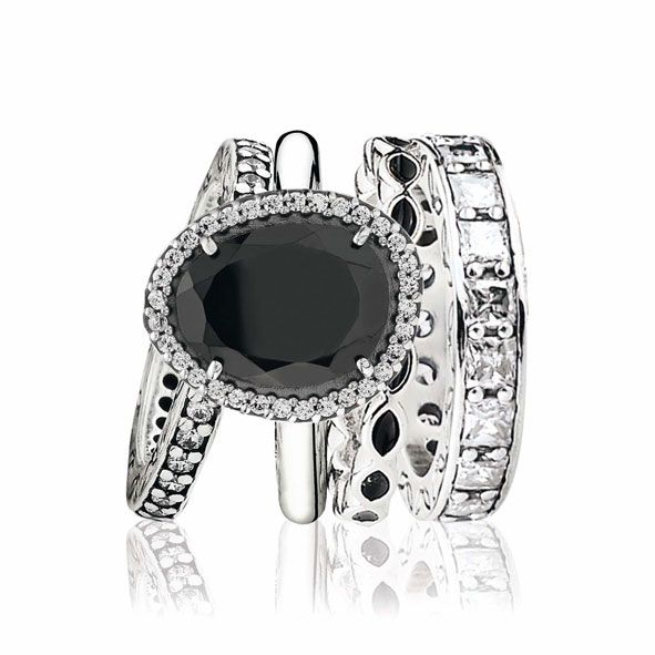 Pandora sterling silver ring with cubic zirconia $165, sterling silver ring with black spinel and cubic zirconia $205, sterling silver ring with black enamel $65 and sterling silver Eternity ring with cubic zirconia $179