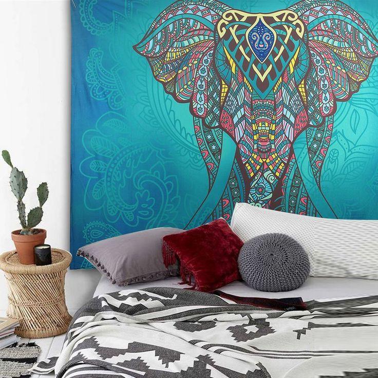 Tapiz Elefante Indio Mandala Boho, de GoodPing. Puedes conseguirlo en http://religionymitologia.esoterik-a.com/producto/tapiz-elefante-indio-mandala-boho/