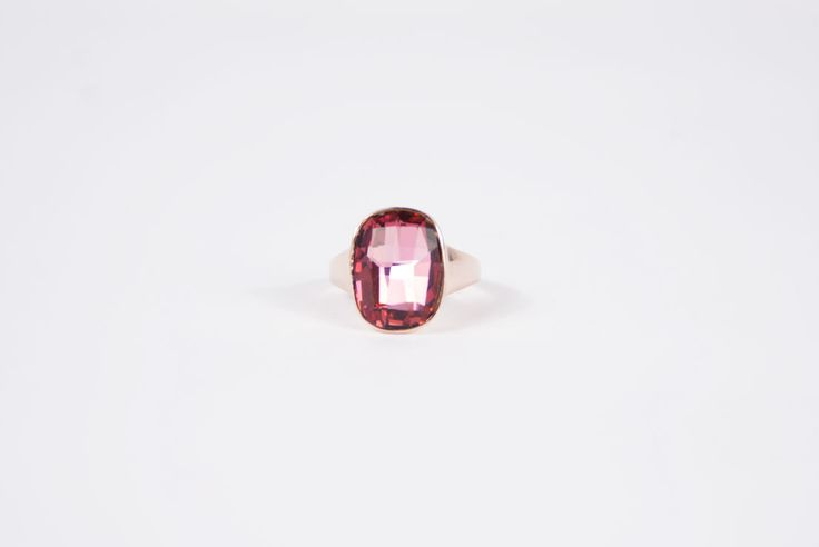 Lilac Swarovski Stone Ring in 18k Rose Gold Plated - Golden Eight