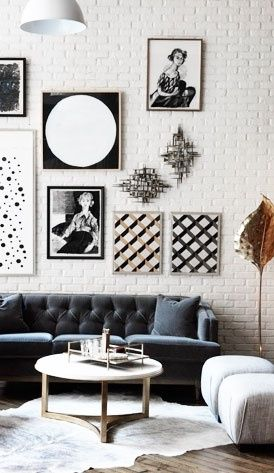 black + white living room: Interior Design, Living Rooms, Brick Wall, Coffee Table, Livingroom, Gallery Wall, Art Wall, White Brick