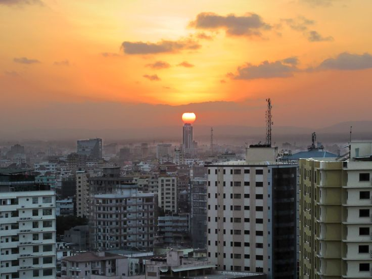 The sun sets over Dar es Salaam, the largest city on Africa's east coast.