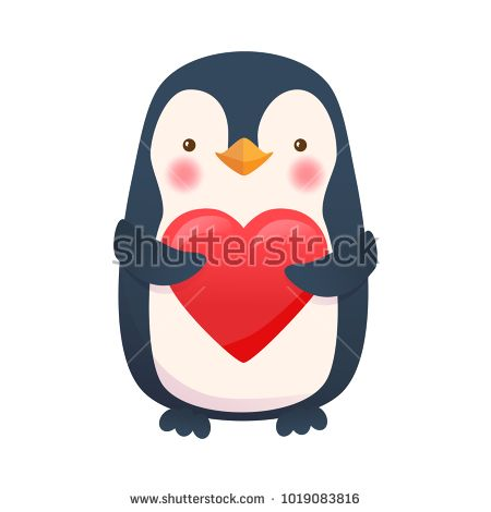 Penguin with heart. Penguin cartoon illustration. Cute animal. Stock photography, images, pictures, Illustrations, ideas. Download vector illustrations and photos on Shutterstock, Istockphoto, Fotolia, Adobe, Dreamstime