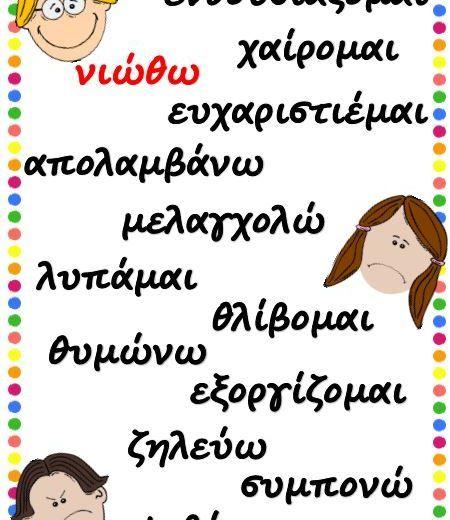 Αφίσα 1: Λεξιλόγιο σχετικό με συναισθήματα