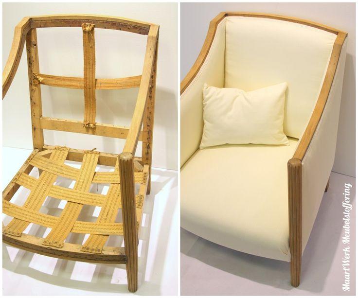 Eindresultaat Art Deco fauteuil. bovenaanzicht.