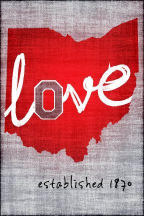 Ohio State Love // OSU Buckeyes Block O // 8 x 10 by kardeeah