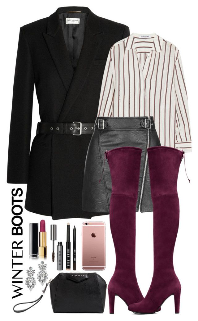 Untitled #370 by margaridasilv on Polyvore featuring polyvore mode style Elizabeth and James Yves Saint Laurent Topshop Stuart Weitzman Givenchy Miss Selfridge Chanel Bobbi Brown Cosmetics fashion clothing