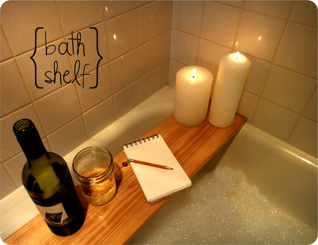 DIY bath shelf from home depot wood.....stain first...so easy! Gift for mom?