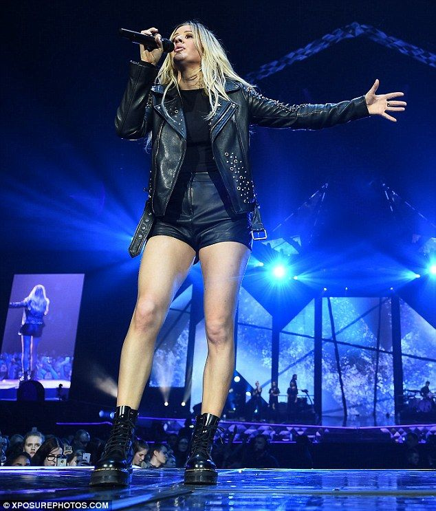 Those legs, though: As well as her impressive vocals, 29-year-old Ellie showed off her shapely stems in her favourite pair of black hot pants