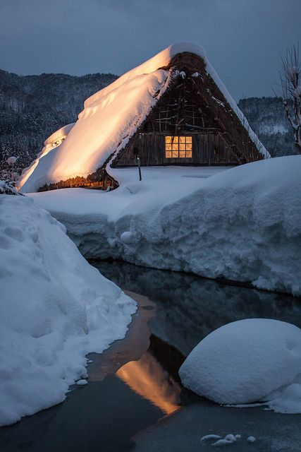 Winter night in Historic Villages of Shirakawa-go, Gifu, Japan
