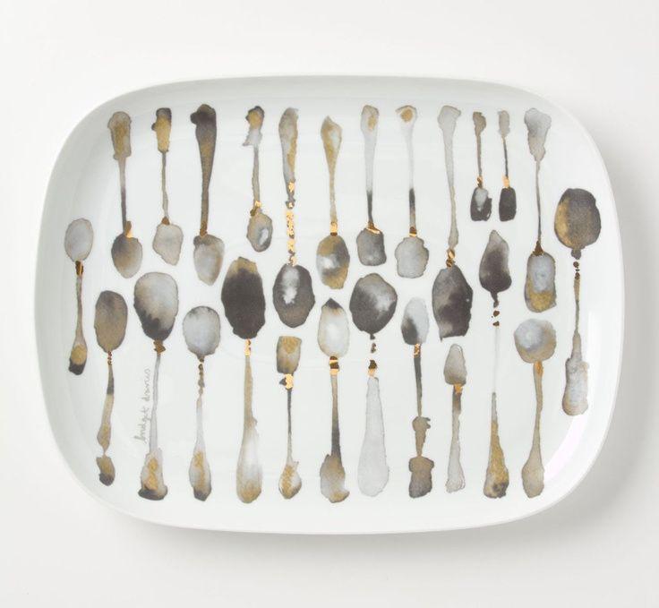 Porceleinen servies beschilderd met acryl inkt van Bridget Davies voor #Anthropologie. #spoons #lepels #tableware
