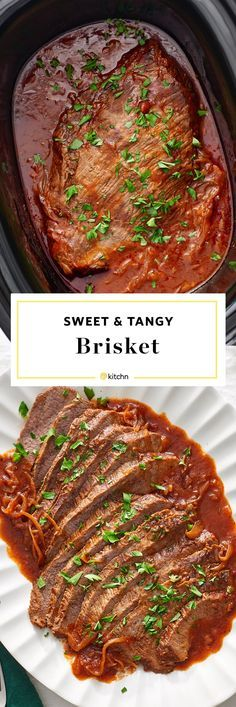 Sweet and Tangy Slow Cooker Brisket Recipe. This EASY and SIMPLE comforting crockpot dinner will become one of your favorite comfort food recipes during the cold weather and months ahead. Switch it up with your roasts and beef recipes this winter! Crock pots are made for this kind of simple tender barbecue beef.