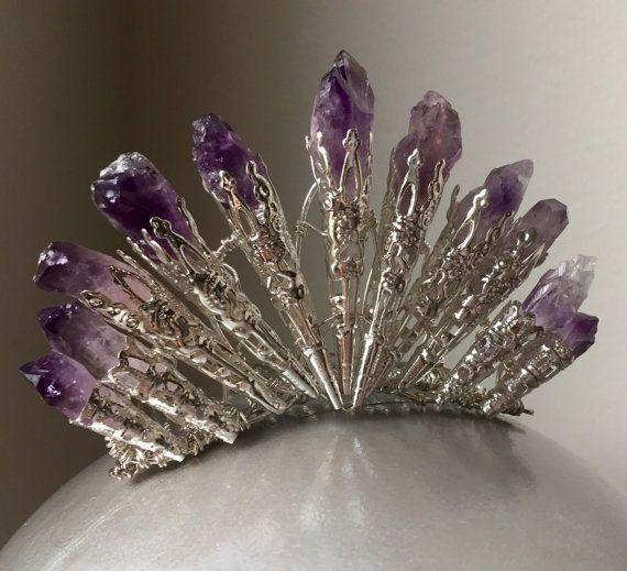 De ORLA Amethyst Bun kam - paarse natuurlijke ruwe Amethist - Art Deco Fan - Quartz - Tiara kleine kroon - Great Gatsby, 20s, prom, vintage.