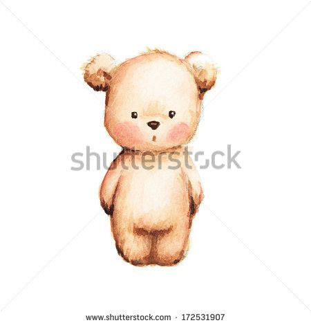 Drawing Of Cute Teddy Bear Stock Photo Watercolor Guilday In