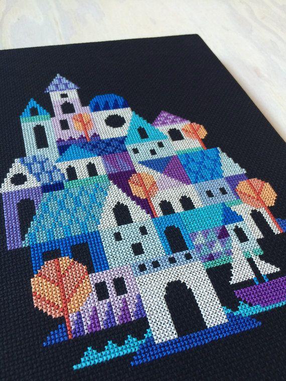 Blue Village modern cross stitch pattern PDF by SatsumaStreet