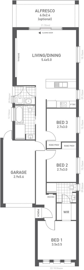 Design Thirteen Floorplan   From The Weeks And Macklin Homes Choice Series.  Intelligent Design For Everyday Living. Despite Its Narrow Design This Home  ... Part 60