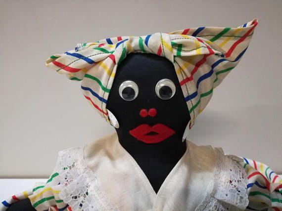 bambole di stoffa-collezione bambole-bambola nera-senza