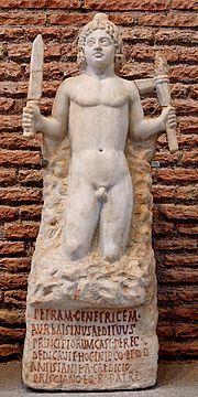 Culte de Mithra — Mithra naissant de la pierre (petram genetricem), musée des Thermes de Dioclétien. Inscription