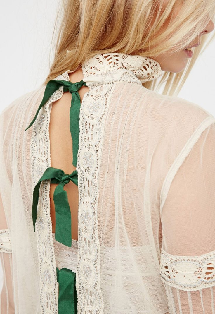 beautiful detail on the back of this vintage blouse