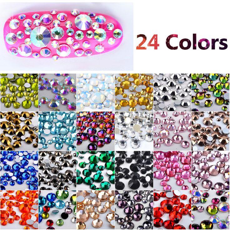MIOBLET 400PC Nail Art Hotfix Rhinestone Crystal AB Color DIY Manicure 3D Flatback Non Hot Fix Nail Rhinestones Nails Decoration #Affiliate