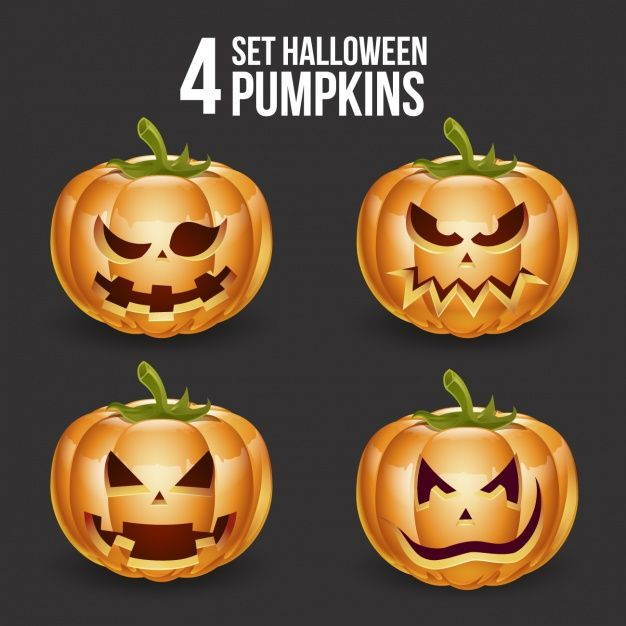 Halloween pumpkins design Free Vector
