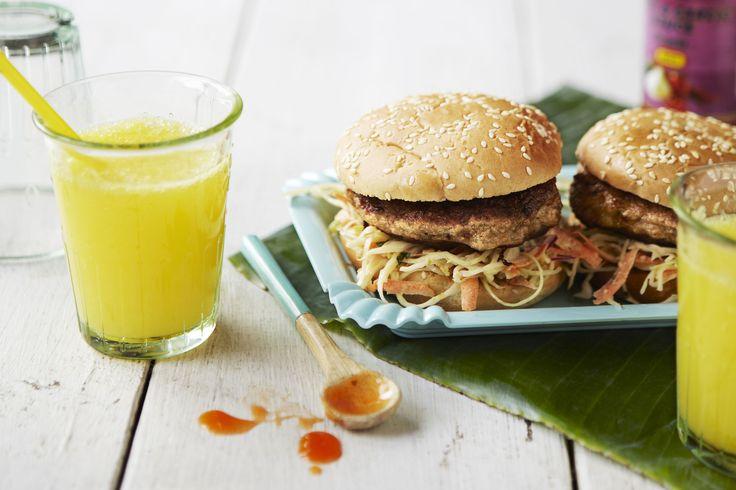 Chicken Thai Burger minttucoleslaw-salaatin kera