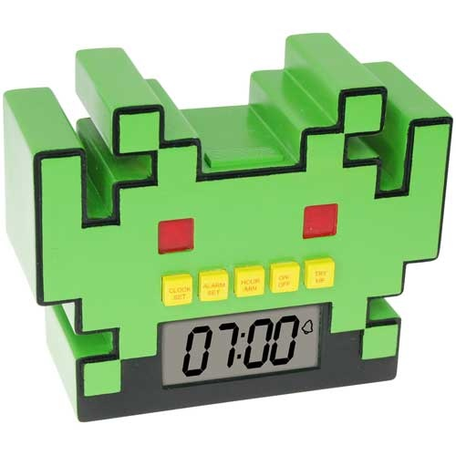 Space Invaders Digital Clock :-: An excellent homage to the grand daddy of video games...this clock would be ideal to tell you when you should stop playing video games...and get on with the rest of your life :). Also great for waking you up in the morning!!
