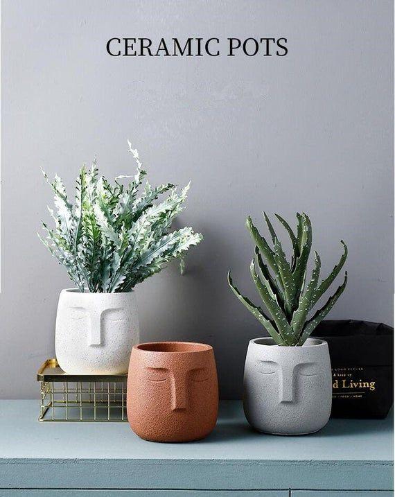 Face Flower Vase Planter Cactus Pot Head Pot Plant Pot Succulent Planter Succulent Gift Cactus Planter Bonsai Pot Succulen Pot Flower Pots Succulent Pots Face Planters