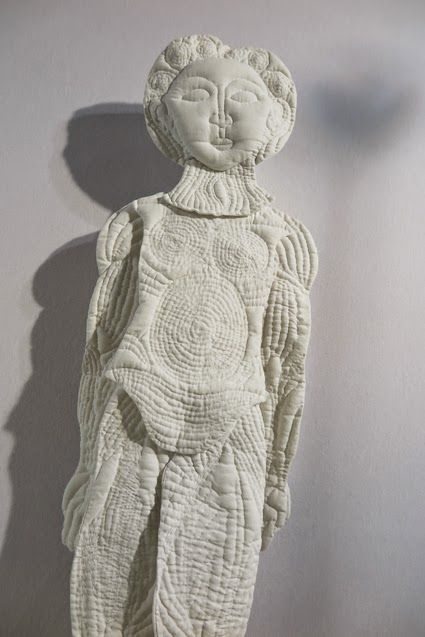 fabric quilted art doll by Karine Jollet - soft sculptures