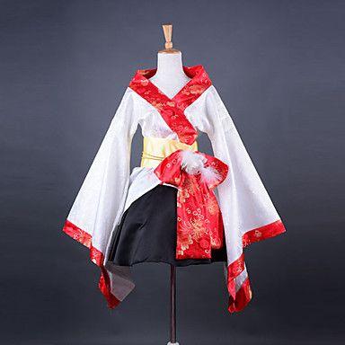 Fashion Kimono Long Sleeve Knee-length White Satin Wa Lolita Outfit – USD $ 74.99