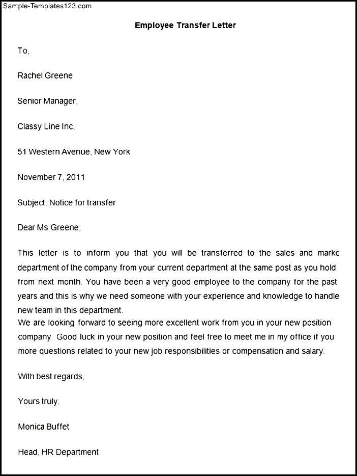 employee transfer letter template sample templates write intent - transfer letter