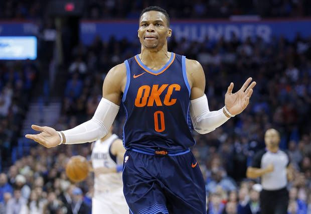 Oklahoma City's Russell Westbrook (0) reacts to a call during the NBA game between the Oklahoma City Thunder and the Dallas Mavericks at the Chesapeake Energy Arena, Sunday, Dec. 31, 2017. Photo by Sarah Phipps, The Oklahoman