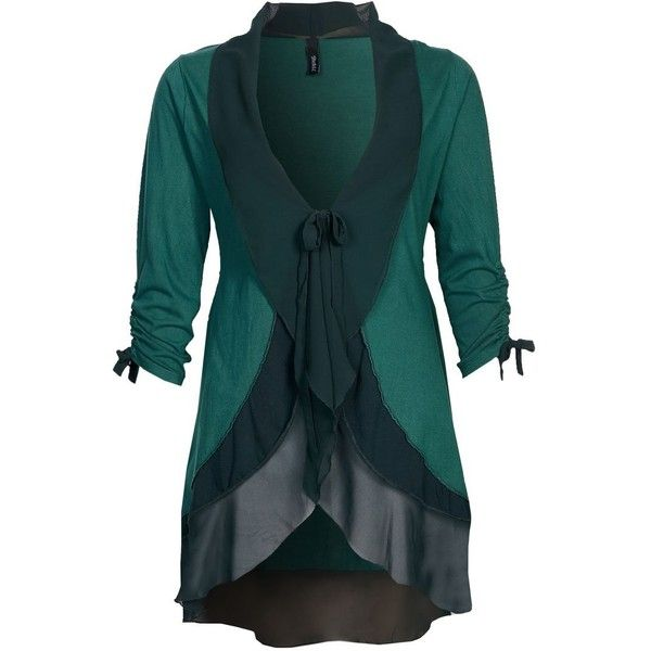YPPIG MAG Cardigan (720 DKK) found on Polyvore featuring tops, cardigans, jackets, sweaters, green, women's tops, green cardigan, blue cardigan, blue green tops and blue top