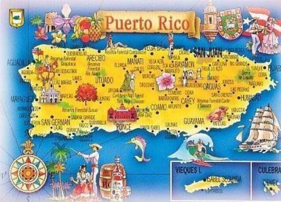 La Parguera: Puerto Rico, Caribe. MAPA DE PUERTO RICO.