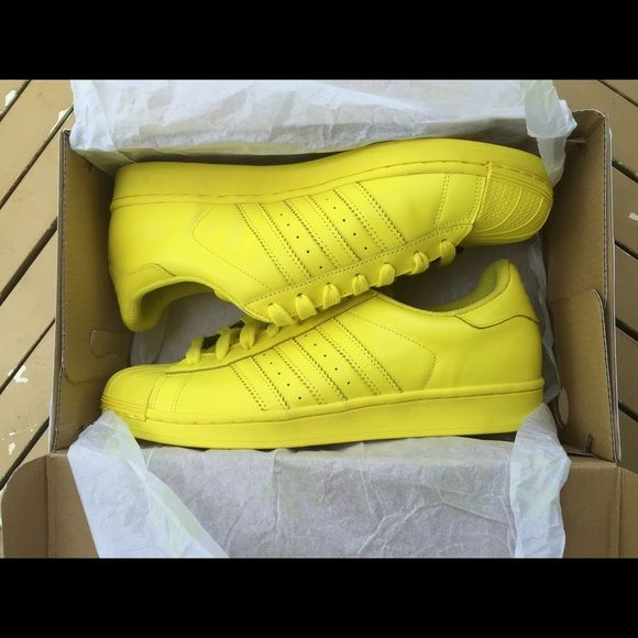Adidas Superstar Supercolor Pharrell Williams Yellow size 9.5 us. New. Come with box but no tag Adidas Shoes