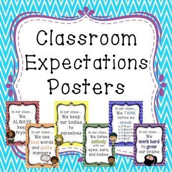 This is a set of 6 classroom expectations posters. Each poster is presented once in color and once in black and white. These expectations are written in positive language and would be excellent for any classroom. The classroom expectations included are;In this classroom we Always Keep TryingIn this classroom we use Kind words and Polite mannersIn this classroom we keep our Bodies to ourselvesIn this classroom we listen actively with our eyes, ears, and bodiesIn this classroom we THINK…