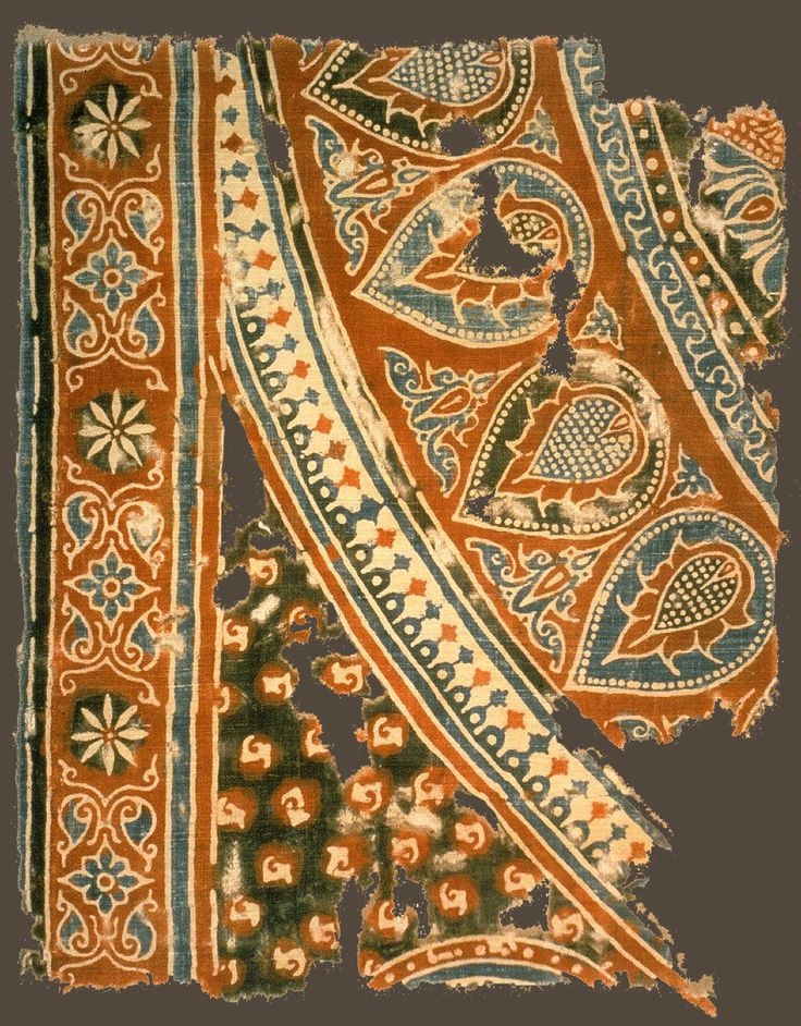 Textile fragment, made in India, found in Egypt, Fustat, 18th century (?). The Textile Museum 6.152, acquired by George Hewitt Myers in 1950