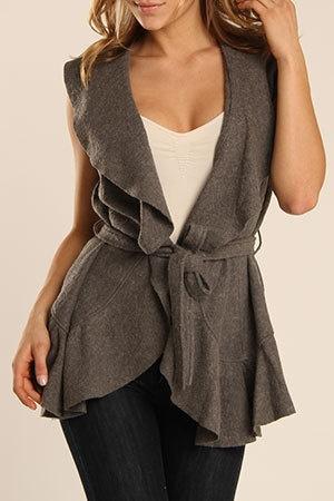 Mystree  Veronica Vest In Heather Gray