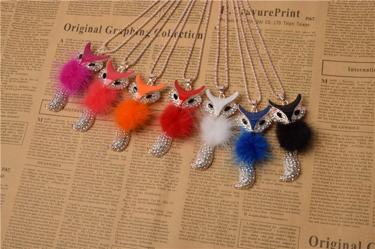 Lackingone jewelry *2015 christmas gift Faux feather necklaces & pendants Little Fox Necklace free shipping