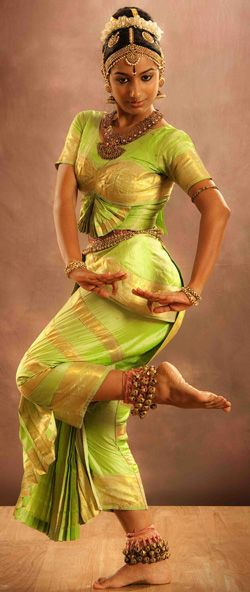 Kuchipudi Dancer wearing a Green & Gold Dress, India ....