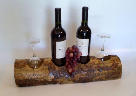 Wooden Tabletop Wine and Glass Rack Handmade by AspenBottleHolders, $64.00