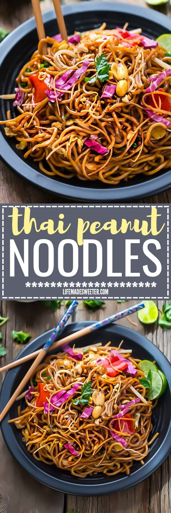 Rainbow Asian Peanut Noodles makes the perfect easy weeknight dish. Best of all, full of delicious authentic Thai flavors with a creamy peanut sauce and vegetables of your choice. Ready in under 30 minutes in just ONE pan! Great for Sunday meal prep for work or lunch bowls!
